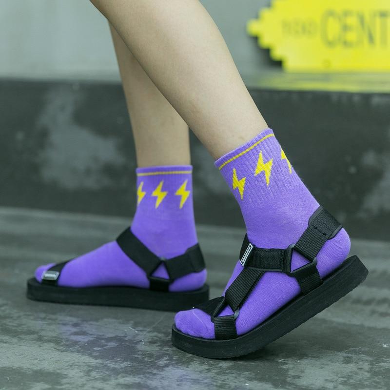 Fashion Autumn Purple Cotton Women   Socks   Cute Strawberry Lightning Print   Socks   Funny Stars Red Heart Lovely   Socks