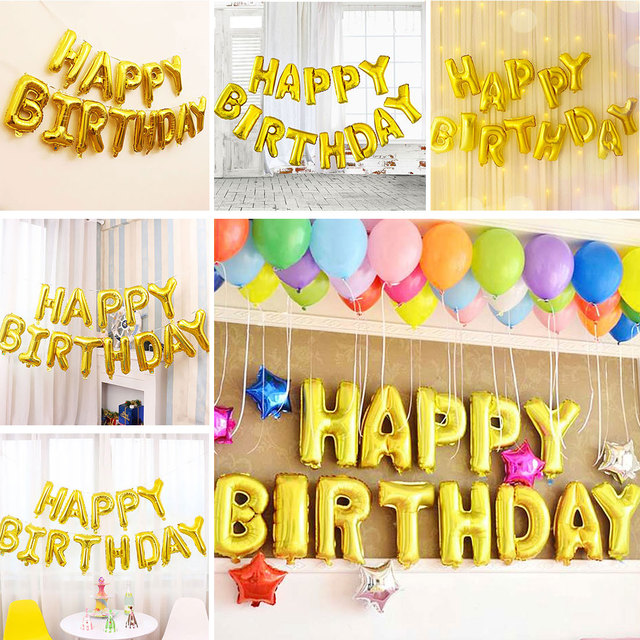 hot sale foil balloons happy birthday letter balloons balls birthday party decorations kids baby shower helium
