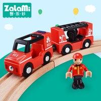 Zalami Plástico crianças brinquedos Veículo Caminhão de Bombeiros Modelo Do Veículo o melhor presente para as crianças Mini Carro Jogar na pista