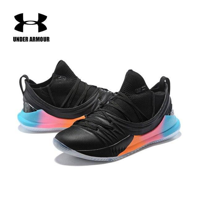 2018 Under Armour Sepatu Basket Pria UA Curry 5 Anti Slip Olahraga Sneakers Pria Outdoor Rendah Atas Unik Kaus Kaki bantalan Sepatu