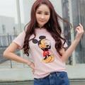 [scene] summer 2016 Korean Korean slub cotton shirt cartoon short sleeved t-shirt female students loose