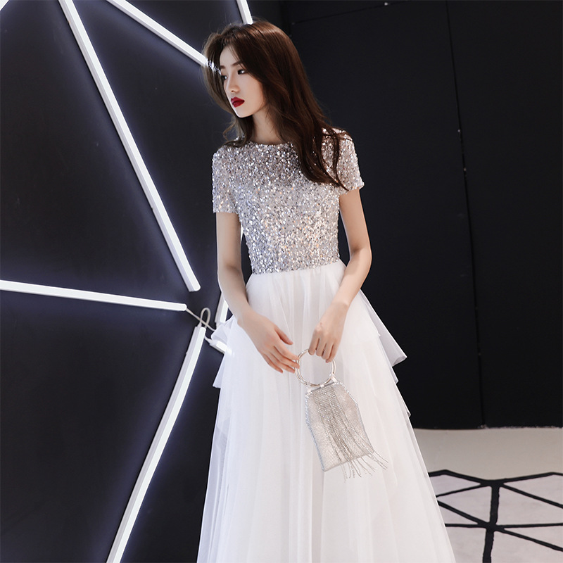 New White Sequins Cheongsam Chinese Women Banquet Clothes Mesh Floor Length Dress Gowns Ladies Evening Party Qipao Big Size 3XL