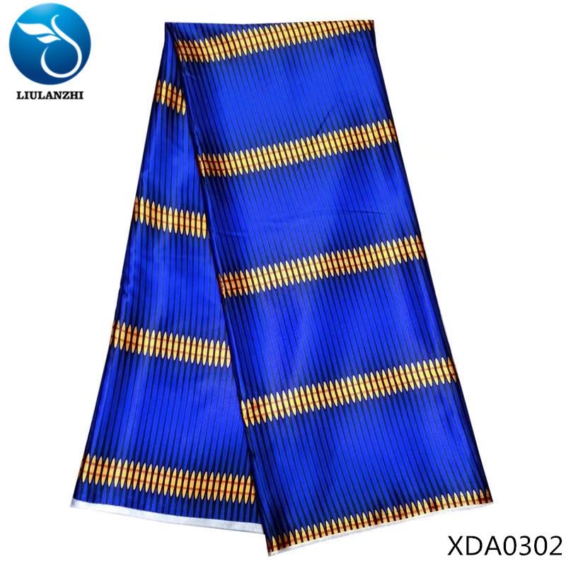 LIULANZHI Royal blue african fabrics Printing satin fabric 2018 Hot sale nigerian imitated silk for women dresss XDA03