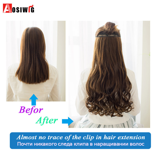 Online Shop Aosiwig Two Styles Long Wavy Clip In Hair Extensions One