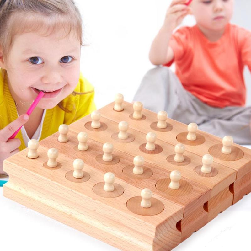 Wooden Toys Montessori Early Learning Blocks Toy Cylinder Socket Blocks Toy Children Baby Development Practice Blocks Kids Gift(China)