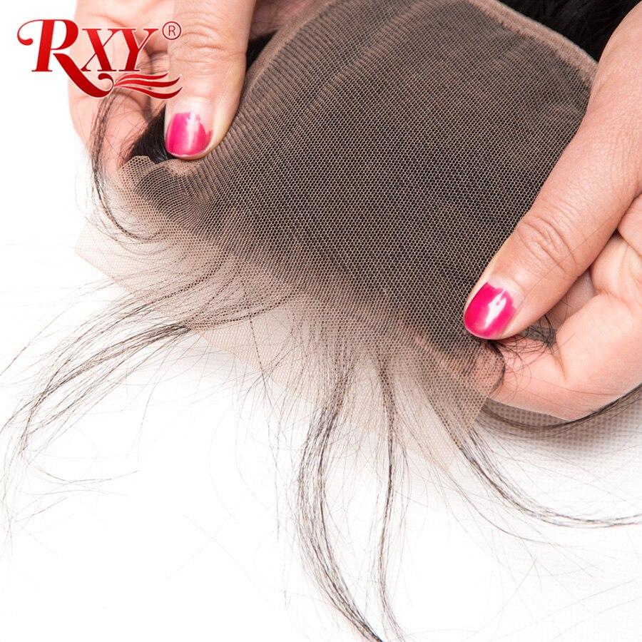 RXY Braziliaanse straight lace closure gratis deel 4x4 Zwitserse kant - Mensenhaar (voor zwart) - Foto 5