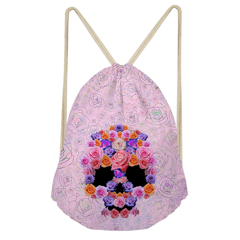 THINK Women Flower Skull 3D Printing String Bags Travel Softback Polyester Drawstring Bags Teenagers Storage Backpack Sac Custom