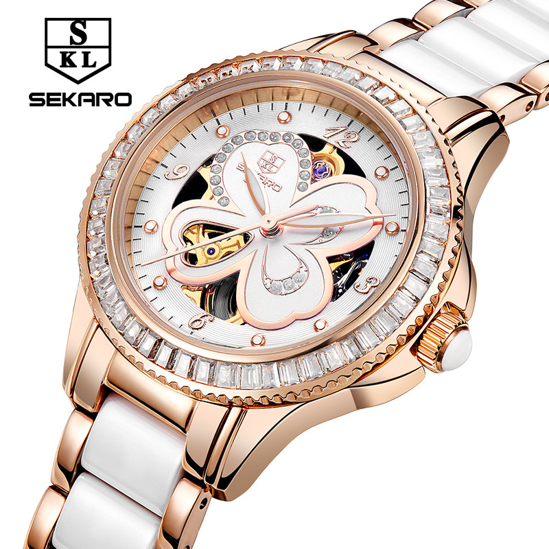 Sekaro genuine ladies automatic mechanical watch woman white ceramic with bracelet table hollow waterproof female luxury watch ultra luxury 2 3 5 modes german motor watch winder white color wooden black pu leater inside automatic watch winder
