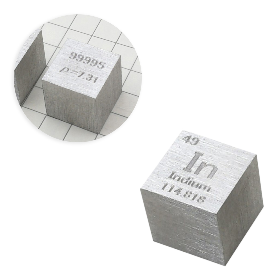 10 X 10 X 10mm Wiredrawing Indium Cube Periodic Table Of Elements Cube(In≥99.995%)