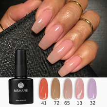 MSHARE Camouflage Base Rubber Gel Semipermanente Polish Natural Nude Pink Purple Color Silicone No Need Base Coat