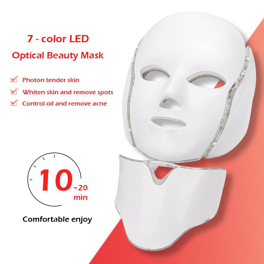 7 cores Luz LED Máscara Facial Com Pescoço Tratamento de Rejuvenescimento Da Pele Face Care Beleza Anti Tratamento Da Acne Clareamento Da Pele Aperte