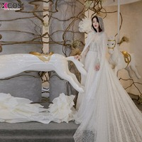 Роскошные бисером пляжная свадебное платье 2018 платье vestido de noiva в наличии Аппликации блестками с длинным рукавом свадебные платья невесты п