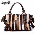 Women Handbags Brand Design Stripe Bow Patchwork Leather Striped Shoulder Crossbody Bags Messenger Sling Bag European Totes