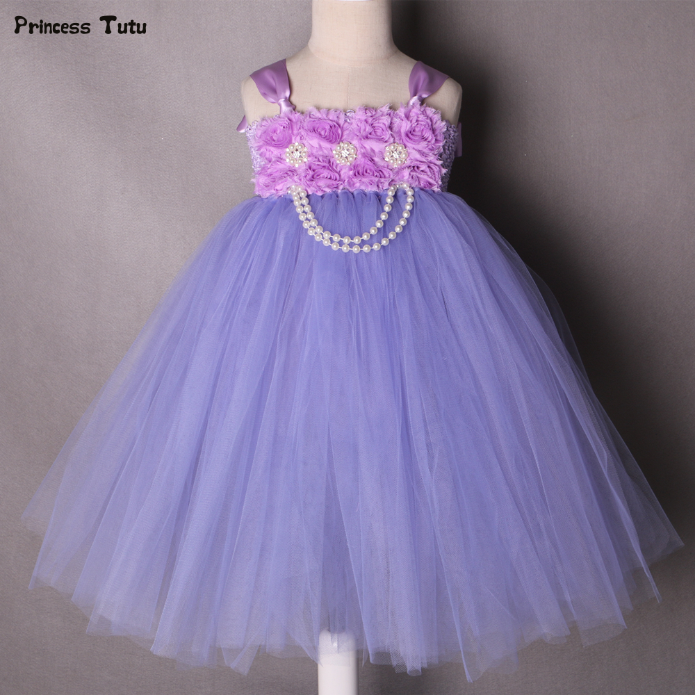 1-14Y Lavender Tulle Flower Girl Tutu Dress Kids Party Pageant Wedding Tutu Dresses For Girls Ball Gown Dress Children Clothing cute green princes puffy tutu dress children girls ball gown dress add multilayer flowers handmade tutu dress for wedding party
