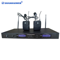 Professional performance UHF 2 ways digital wireless Waist hanged microphone system condenser collar clip good megaphone set