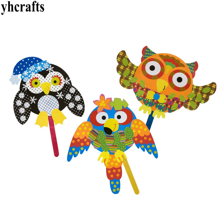 3PCS/LOT 3 design bird pop stick art Create your own happy bird Kindergarten crafts Early learning educational toys,Kids toys