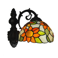 New Mediterranean Tiffany Style Sunflower Garden Wall Lamp Retro Stained Glass Stairs Bedroom Bedside Wall Light Lightings WL320