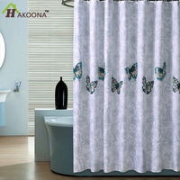 HAKOONA Butterfly Bathroom Shower Curtains Polyester Cloth Waterproof Moldpfoor Curtain Cut Off 71 X79 With Metal