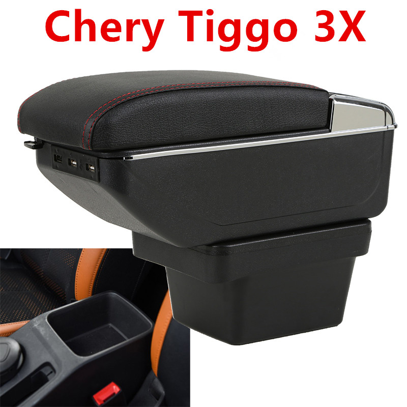 Free shipping for Chery <font><b>Tiggo</b></font> 3X armrest box +7USB+ double layer + light image