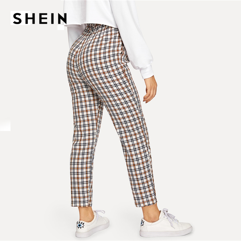 SHEIN Multicolor Exposed Zip Fly Plaid Peg Straight Leg High Waist Cotton Fringe Pants 2018 Autumn Casual Workwear Trousers 2