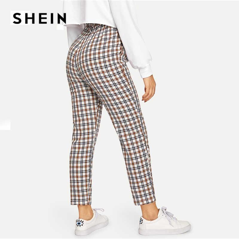 Шеин многоцветный открытые Молния Fly плед Peg прямые брюки высокая талия хлопок брюки с бахромой осень 2018 г. Повседневное Спецодежда мотобрюки