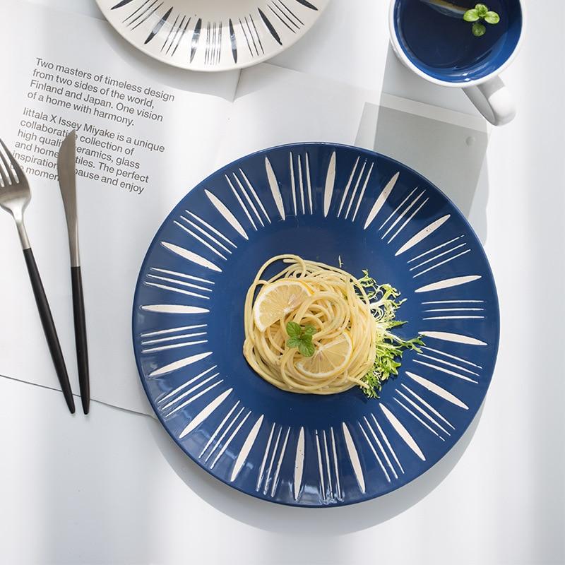 8 10inch Striped Glaze Porcelain Plate Ceramic Dinner Tableware