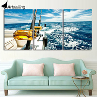 HD Printed 3 Piece Yacht Blue Sea Seascape Wall Pictures For Living Room Wall Art Posters