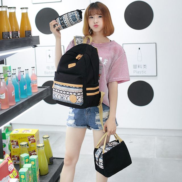Female Casual Preppy Style Canvas Women Travel Backpack Junior High School Students of Teens Girl for Lunch Box Bag Pencil 5