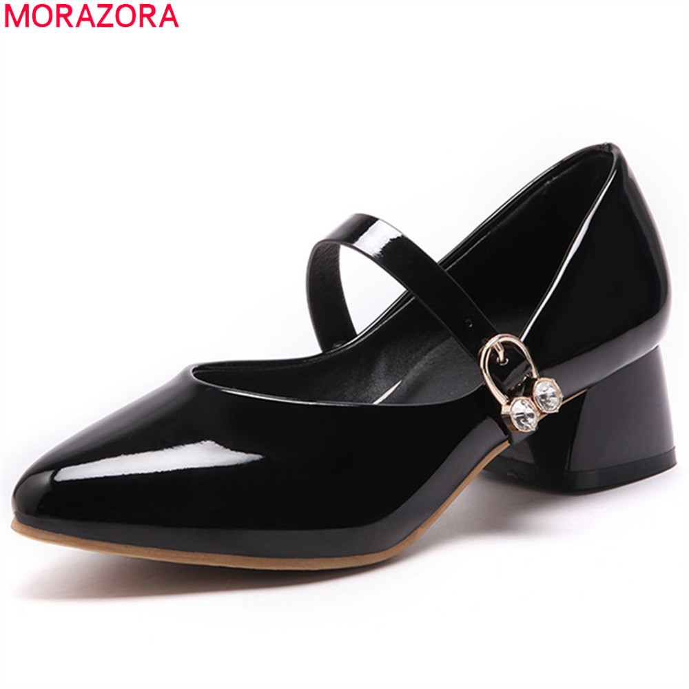 MORAZORA black white fashion spring autumn shoes woman pointed toe casual square heel buckle patent leather med heels shoes morazora hot fashion 2018 pumps women shoes with buckle square toe med heels square heel shallow dress ladies shoes