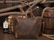 2016 Newest Design Vintage Crazy Horse Genuine Cow leather Women Tote Handbag American European Fashion women bag Brown color