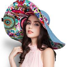 SUOGRY  2017 di Modo di Disegno Del Fiore Pieghevole Tesa Larga Cappello  Del Sole di Estate Cappelli per Le Donne di Protezione. 73642acdb7fb