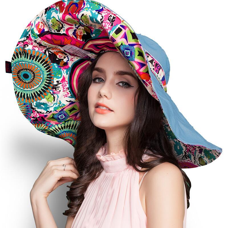 [SUOGRY] 2017 Mote Design Blomst Sammenleggbare Brimmed Sun Hat Sommerhatter til kvinner UV Beskyttelse Gratis frakt