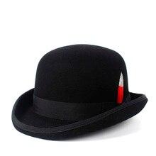 100% lana hombres negro Derby marrón Bowler fieltro sombreros Steampunk 4  tamaño S M L XL ec2b56593ce