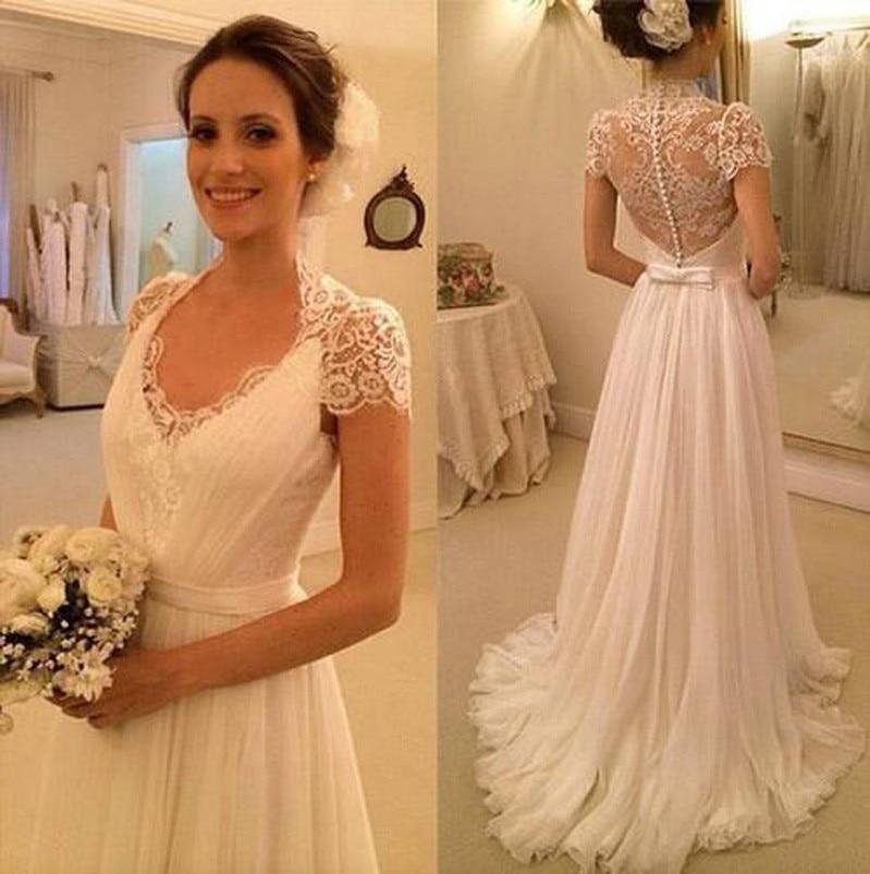 Vintage Hot V Neck Lace Appliques Chiffon See Through Back Formal Bridal Gown Beach Lace Wedding Dresses Vestido De Renda
