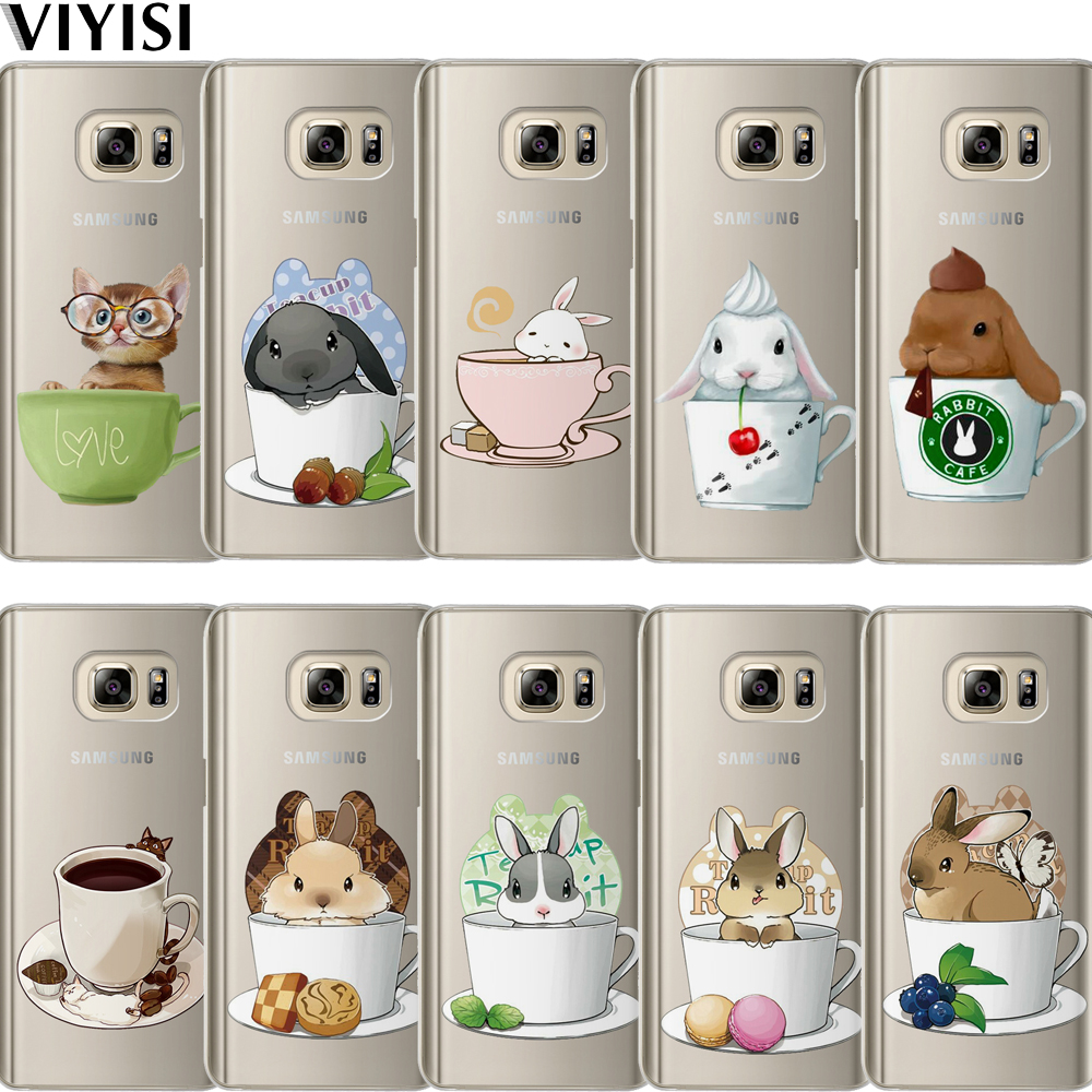 VIYISI For Samsung Galaxy S8 A5 2017 J3 J5 J7 A3 2016 2015 S6 S7 Edge S9 Plus Phone Case Teacup Rabbit Cats Coque Cover Carcasas in Fitted Cases from Cellphones Telecommunications