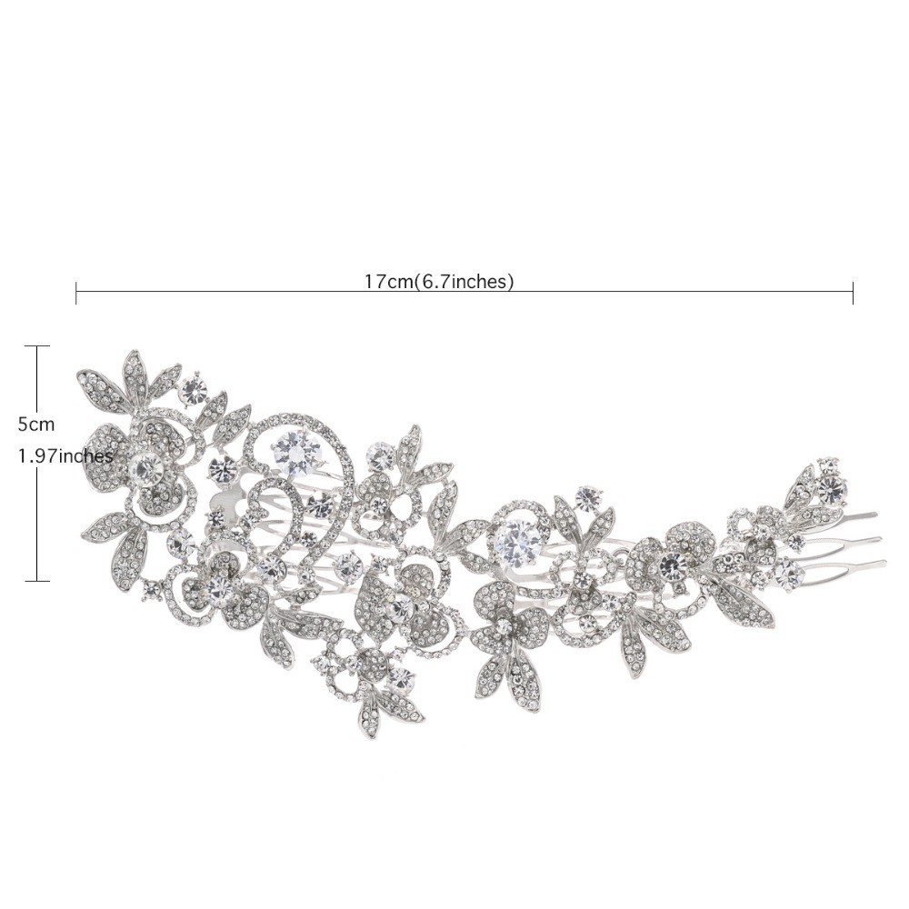 Fashion Long Flower Wedding Hair Comb Gold & Silver Clear Rhinestone Crystal Hair Accessories Women Jewelry 5