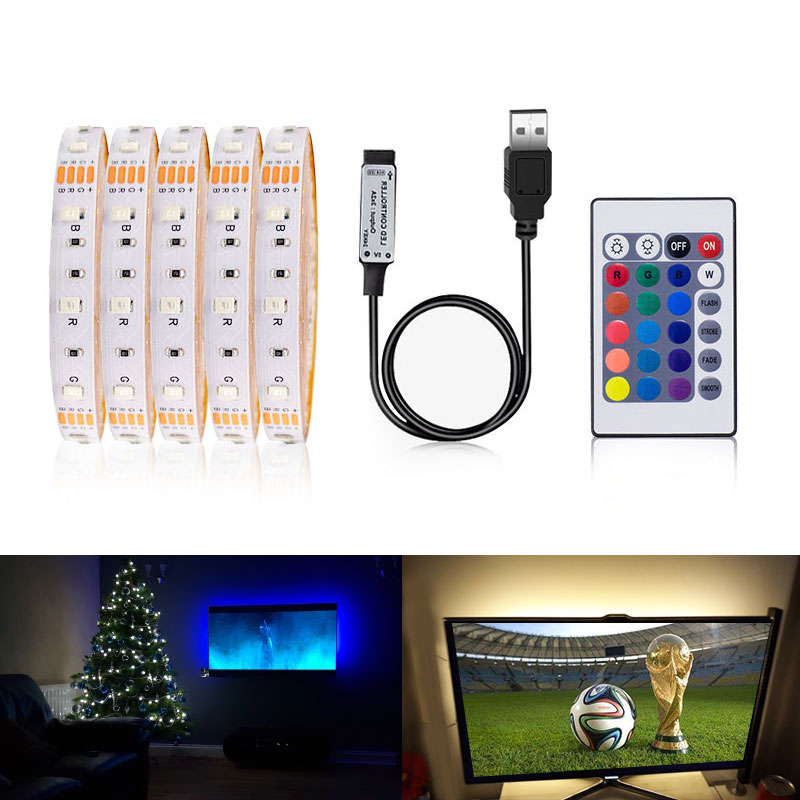 Led Strip 5V 0.5M 1M/2M/3M 4M 5M Color Change For TV Background Lighting With USB 24KEY IR Controller No Waterproof RGB 3258 SMD
