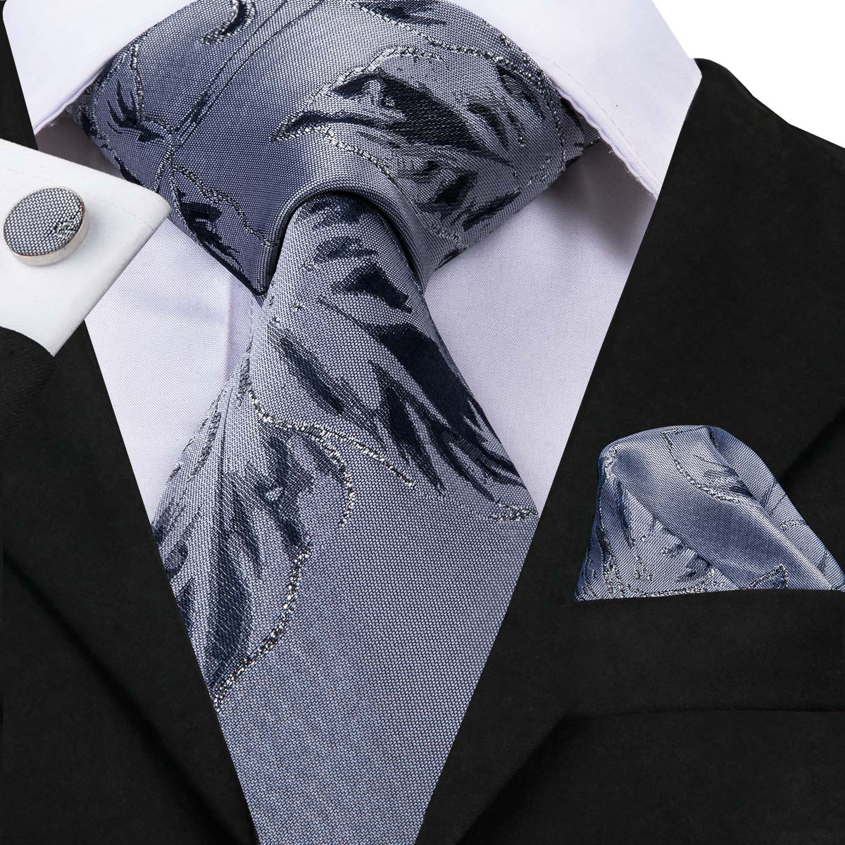 Hi-Tie Hot Sale Top Quality Ties Gravatas Skinny Neck Ties For Men New Fashion Styles Neckties Hanky Cufflinks Set C-3060