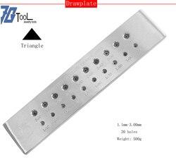 مثلث الشكل 1.10-3.00 مللي متر ، 3.10-5.00 مللي متر ، 20 ثقوب كربيد التنغستن سلك أدوات صنع المجوهرات
