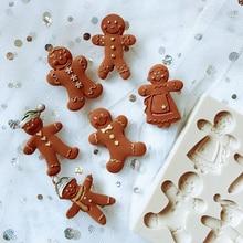 Рождественская Имбирная Рождественская силиконовая форма в стиле человека, форма для помадки, шоколадных конфет, украшения для торта, инструменты для мастики