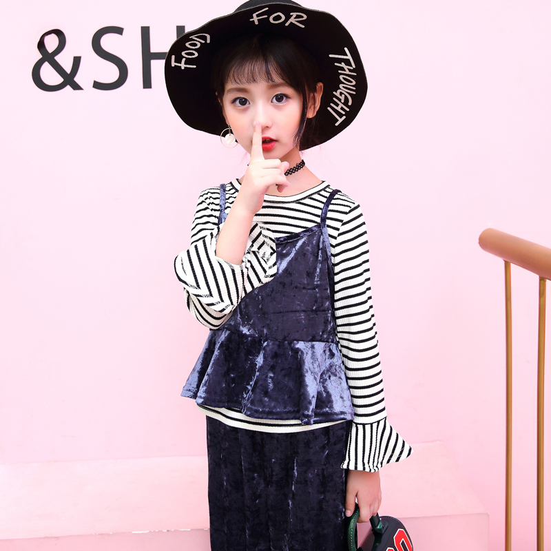 Toddler Clothes Set For Girls Autumn 2018 Back To School Outfits Long Sleeve Striped Shirt + Vest+overalls 3pc Mode Enfant Fille стоимость