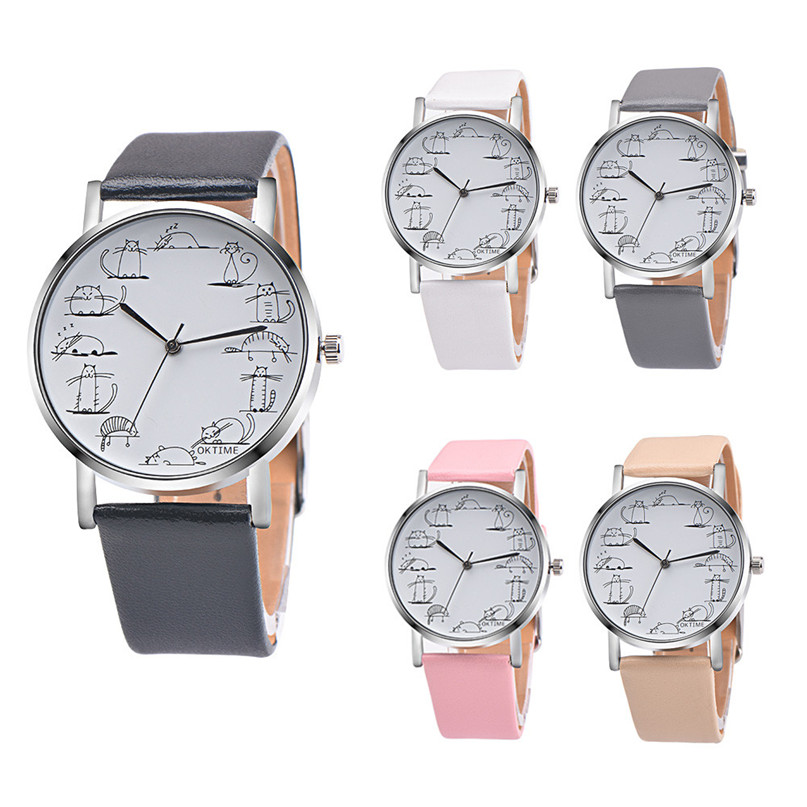 Women Retro Design Lovely Cartoon Cat Leather Band Analog Alloy font b Quartz b font Wrist