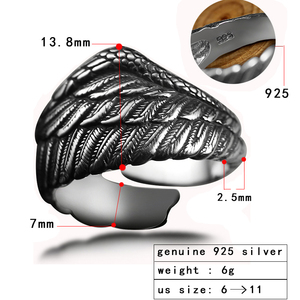 Image 2 - ZABRA Vintage 925 Silver Men Ring Adjustable Eagle Wing Feather Retro Black Punk Biker Man Rings Female Sterling Silver Jewelry