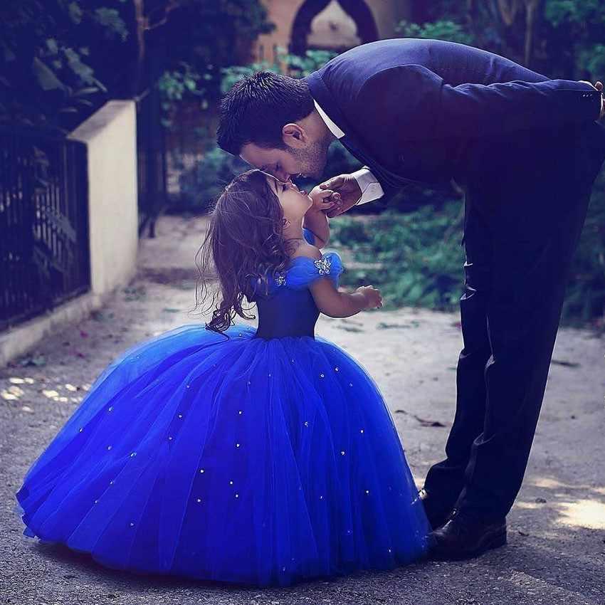 Ярко-голубой цветок девушки платья для свадьбы Золушка девушки платье принцессы дети партии бальное платье Первого Причастия платье