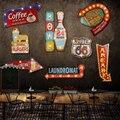 24 estilo Retro LED Muestra del metal pintura decorativa Bar letrero de Señalización inicio decoración de la pared iluminada Cafetería colgando letreros de Neón