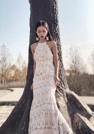 Exquise dentelle licou dos nu robe de mariée 2019 Boho Chic robe de mariée bretelles robes de mariée robe de mariage