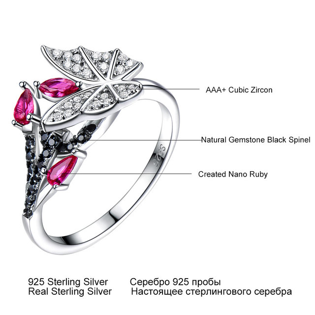 UMCHO Solid 925 Sterling Silver Rings For Women Natural Black Spinel Ruby Gemstone Fashion Unique Butterfly Ring Fine Jewelry