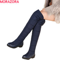 MORAZORA Fashion winter keep warm plush snow boots high quality down over the knee boots footwear platform thigh high fur boots