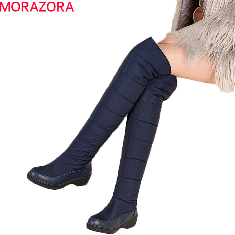 MORAZORA Mode winter warm halten plüsch schnee stiefel hohe qualität unten über die knie stiefel schuhe plattform oberschenkel hohe pelz stiefel