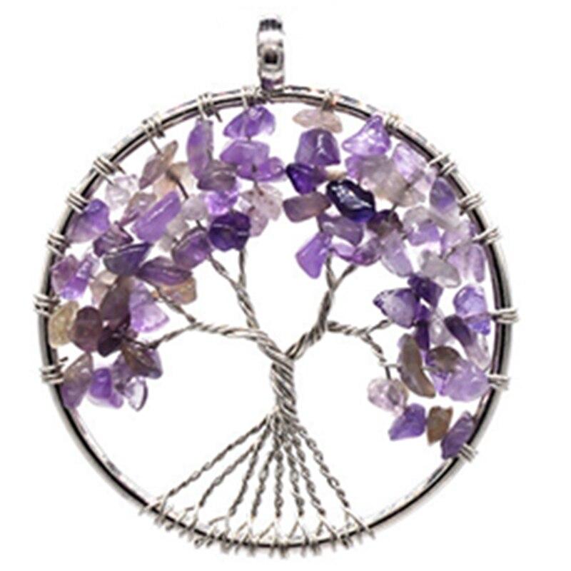 7 Chakra Jewelry - Tree of Life Pendant Amethyst Rose Crystal Necklace Gemstone 5